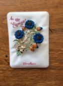 Signed Exquisite Cornflower Brooch 1960's on Original Display Card (SOLD)